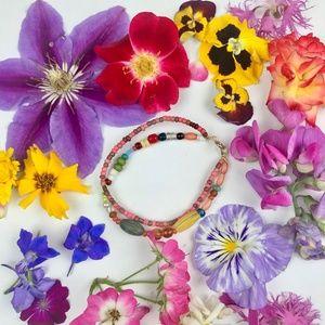 Multicolored Double Strand Seed Bead Bracelet Boho